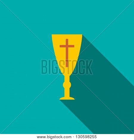 Golden holy chalice icon in flat style on a turquoise background