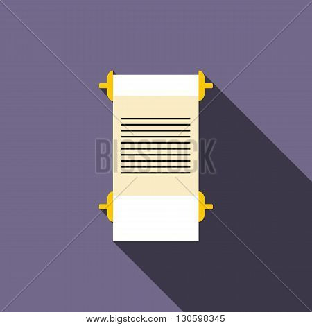 Ancient scroll icon in flat style on a violet background