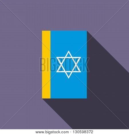 Jewish holy book icon in flat style on a violet background
