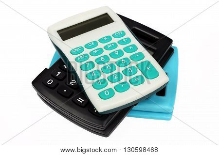 Three colorful calculators isolated on white background