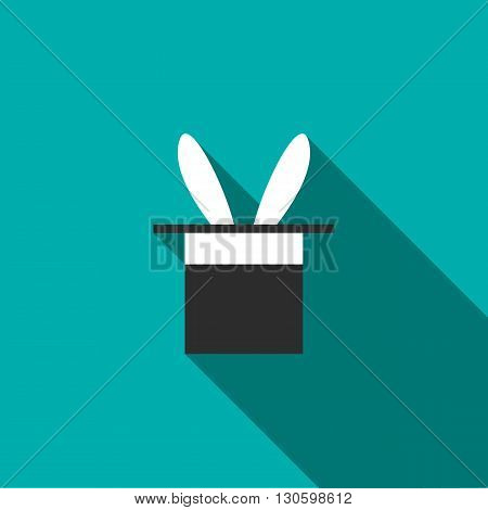 Rabbit appearing from a top magic hat icon in flat style on a turquoise background