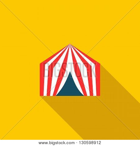 Circus tent icon in flat style on a yellow background
