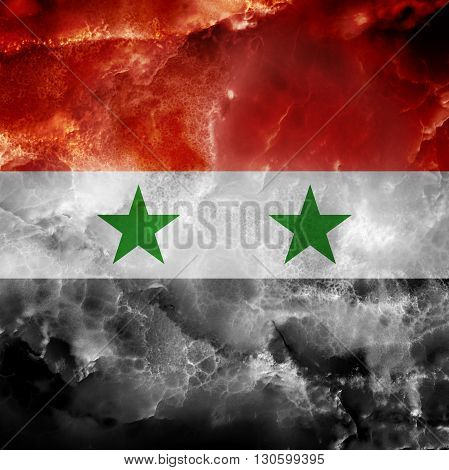 Flag of Syria. Amazing stone texture with multicolor stripes and stars.
