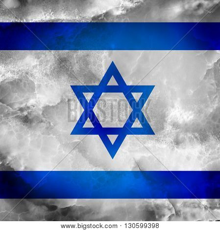 Flag of Israel. Star of David. Amazing stone texture with coloration.