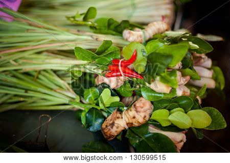 Selection of fresh herbs and spices. Traditional thai Tom Yum soup ingredients.