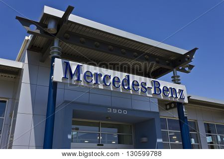 Indianapolis - Circa May 2016: Mercedes-Benz Luxury Car Dealership. Mercedes - Mercedes-Benz is a global automobile manufacturer and a division of the German company Daimler AG I