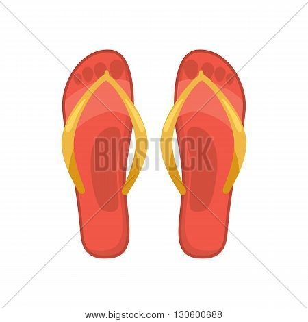 Beach red thongs icon in cartoon style on a white background