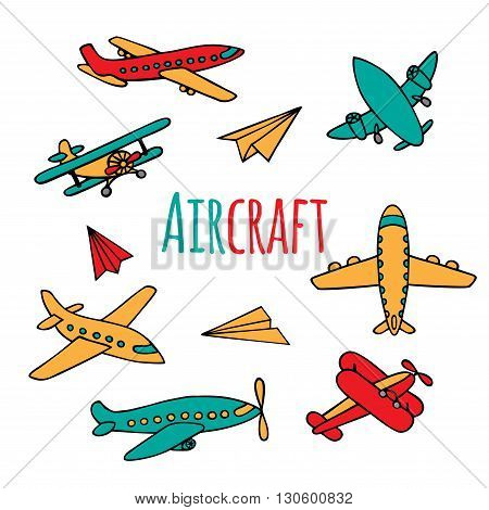 Set of airplanes hand-drawn. Aircraft bright colors in Doodle style. Vector illustration. The sketch of the airliner vintage aircraft and paper airplanes.