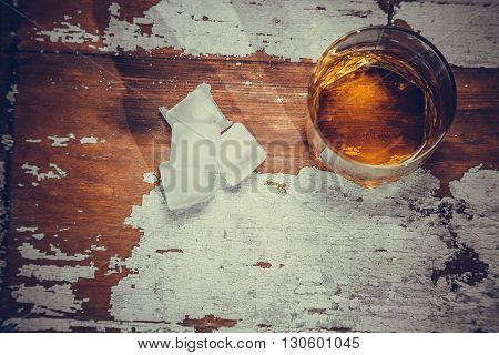 Vintage Photo Glass Of Whiskey On The Bar