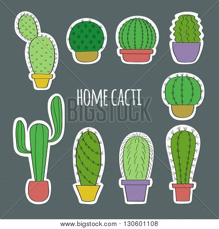 Funny drawings of cacti in pots. House plants drawn by hand. Bright image in Doodle style. The white contour for the effect of cut paper. Can be used as stickers.