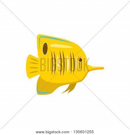 Yellow fish icon in cartoon style on a white background