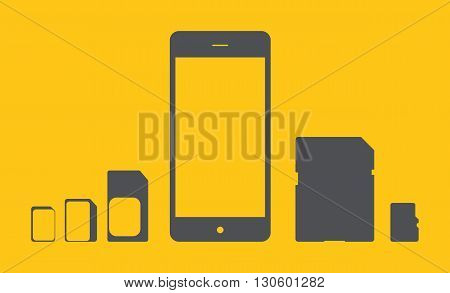 Phone icon from the memory card and SIM cards of different types. Vector illustration.