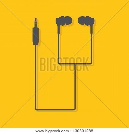 Earphones. Flat earphones vector image. Vector illustration