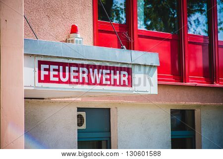 german fire department with red label Feuerwehr