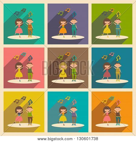 Flat with shadow concept and mobile application couple dancing