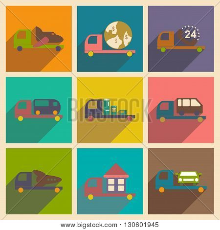 Flat with shadow concept and mobile application logistics delivery truck