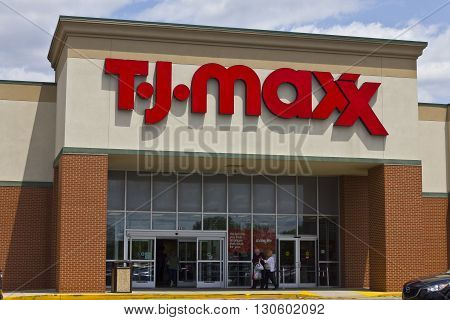 Indianapolis - Circa May 2016: T.J. Maxx Retail Store Location. T.J Maxx is a discount retail chain featuring stylish brand-name apparel, shoes and accessories I