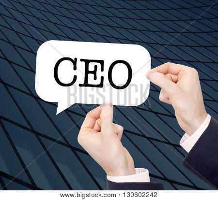 CEO written in a speechbubble