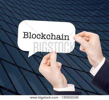 Blockchain written in a speechbubble