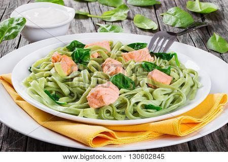 Salmon and Spinach Fettuccine pasta on white dishes and table napkin cream sauce in a gravy boat on dark wooden table italian style studio lights side view cllose-up