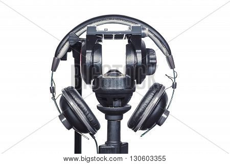 Headphones And A Tripod On A White Background Musica, Audio Recording