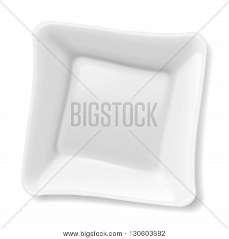Illustration of empty square white plate isolated on white background