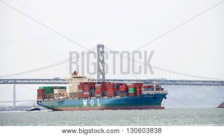 Cargo Ship Mol Guardian Entering The Port Of Oakland