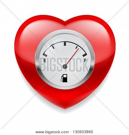 Shiny red heart with fuel indicator showing almost full. Symbol of health or love