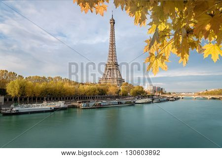 The Eiffel tower from the river Seine in Paris France