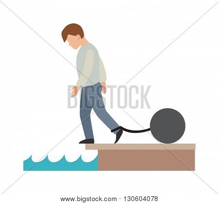 Difficult life vector illustration.