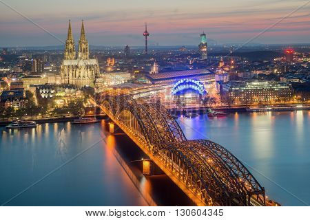 Cologne Germany. Image of Cologne with Cologne Cathedral during twilight blue hour.