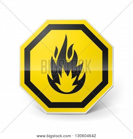 Shiny metal warning sign of highly flammable on white background
