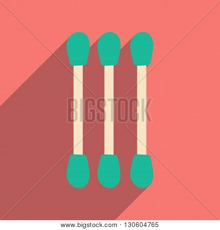 Flat with shadow icon and mobile application cotton swabs