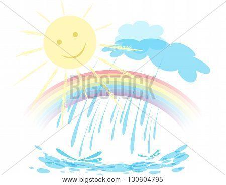The sun is shining, the rain, a rainbow on the sky. Vector landscape.
