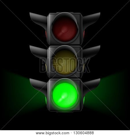 Realistic traffic lights with green lamp on. Illustration on black background