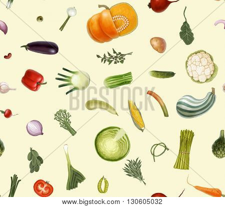 Hand-drawn vector seamless pattern of vegetables, isolated on transparent with cream background