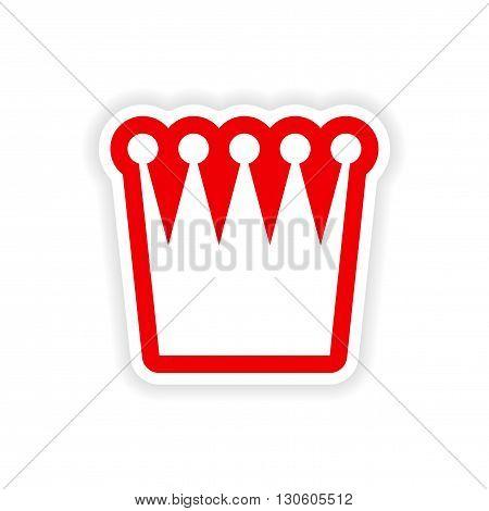 paper sticker crown on white background
