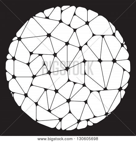 White abstract geometric elements grouped in a circle on a black background. Vector illustration.