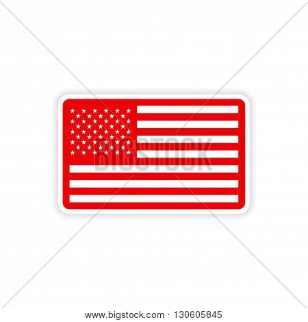 paper sticker American flag on white background