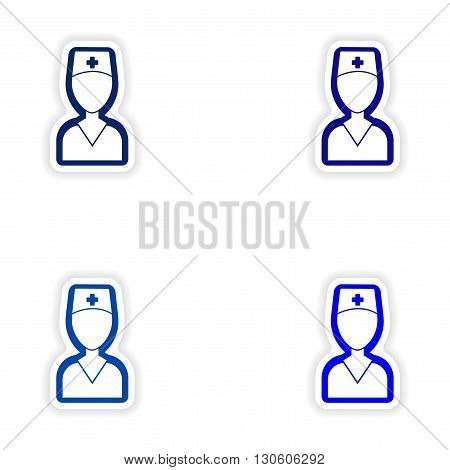 Set paper stickers on white background medical worker