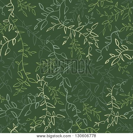 Floral seamless pattern with leaves. illustration for your green natural design. Easy to use and change color. Seamless endless bright spring and summer plant pattern.