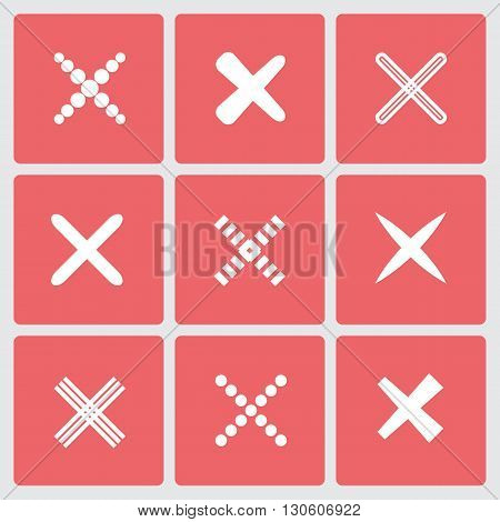 Set of different retro crosses and tics. Confirmation, right and wrong choices, task completion, voting, isolated on white background. Red, yellow colors. Elements in flat design.