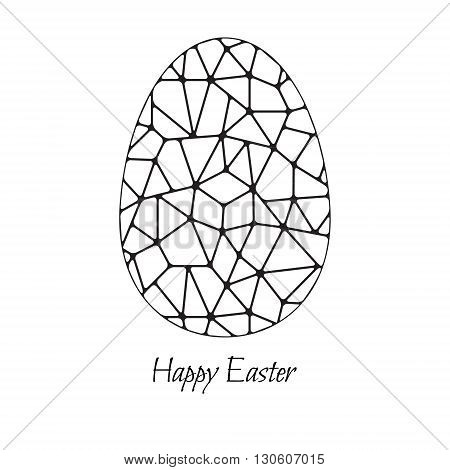 Abstract Easter egg. Black and white vector illustration.
