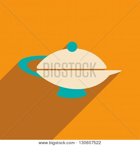 Flat with shadow icon and mobile application teapot eastern