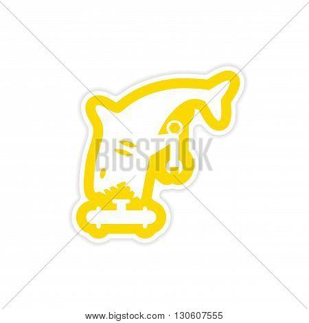 stylish paper sticker on white background shark plumber