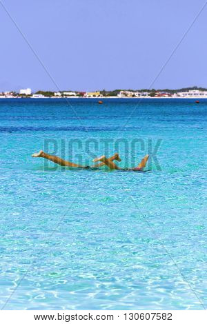 The most beautiful sandy beaches of Apulia:Porto Cesareo marine,Salento coast.ITALY (Lecce).Water games.