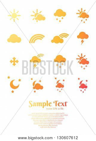 set of flat weather icons for web and mobile