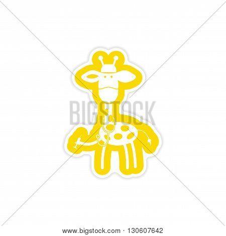 stylish paper sticker on white background giraffe doctor