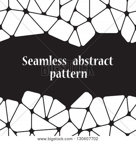 Beautiful abstract seamless pattern with space for your text. Geometric objects like a pebble. Vector illustration.
