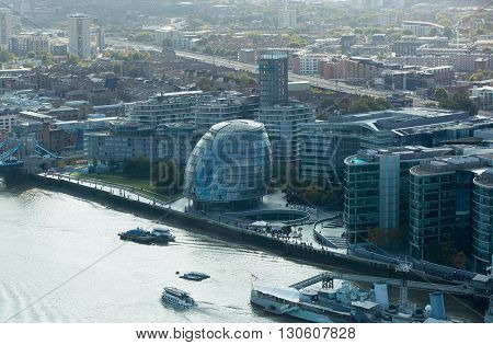 LONDON, UK - OCTOBER 14, 2015. London panorama, London hall and river Thames